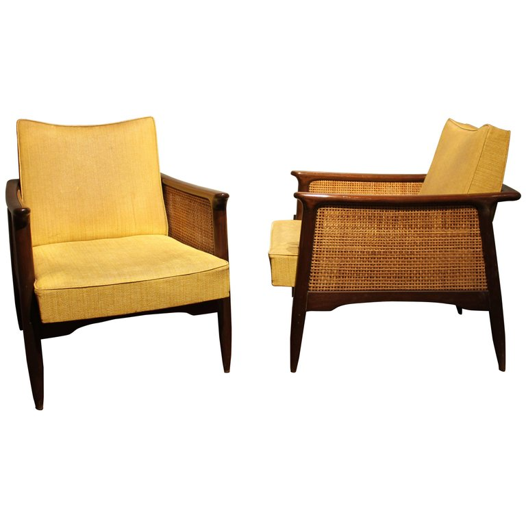Rare And Unusual Pair Of Mid Century Modern Lounge Chairs
