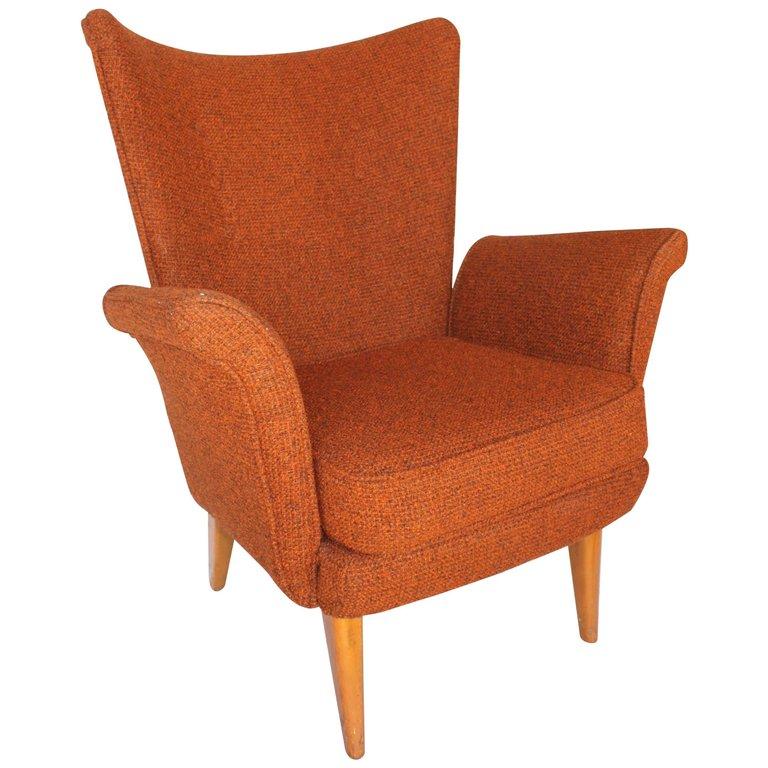 Pleasant Mid Century Modern High Back Armchair Ibusinesslaw Wood Chair Design Ideas Ibusinesslaworg