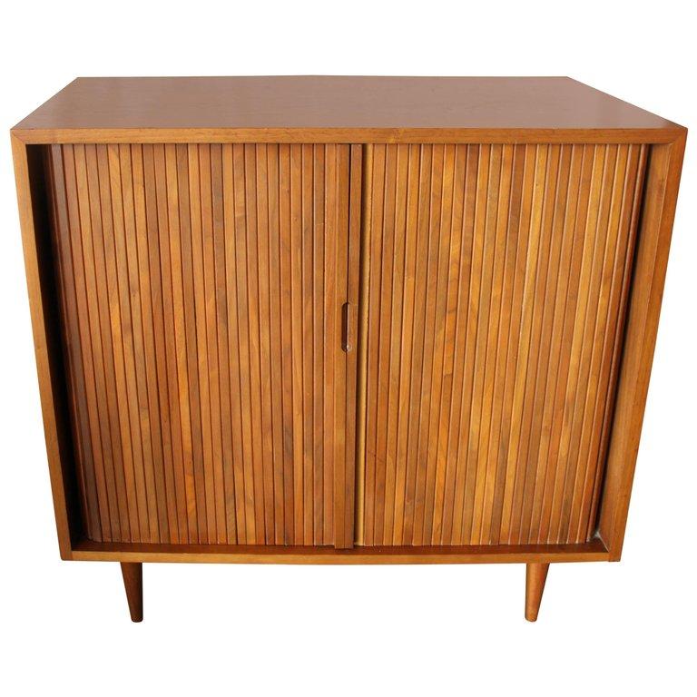 Genial Milo Baughman Tambour Doors Cabinet