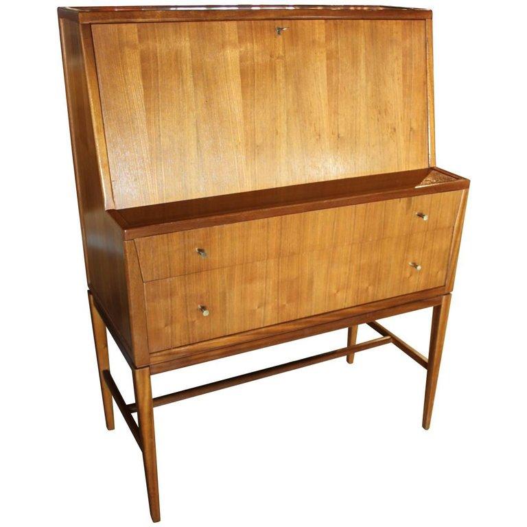 Mid Century Modern Drop Front Secretary Desk